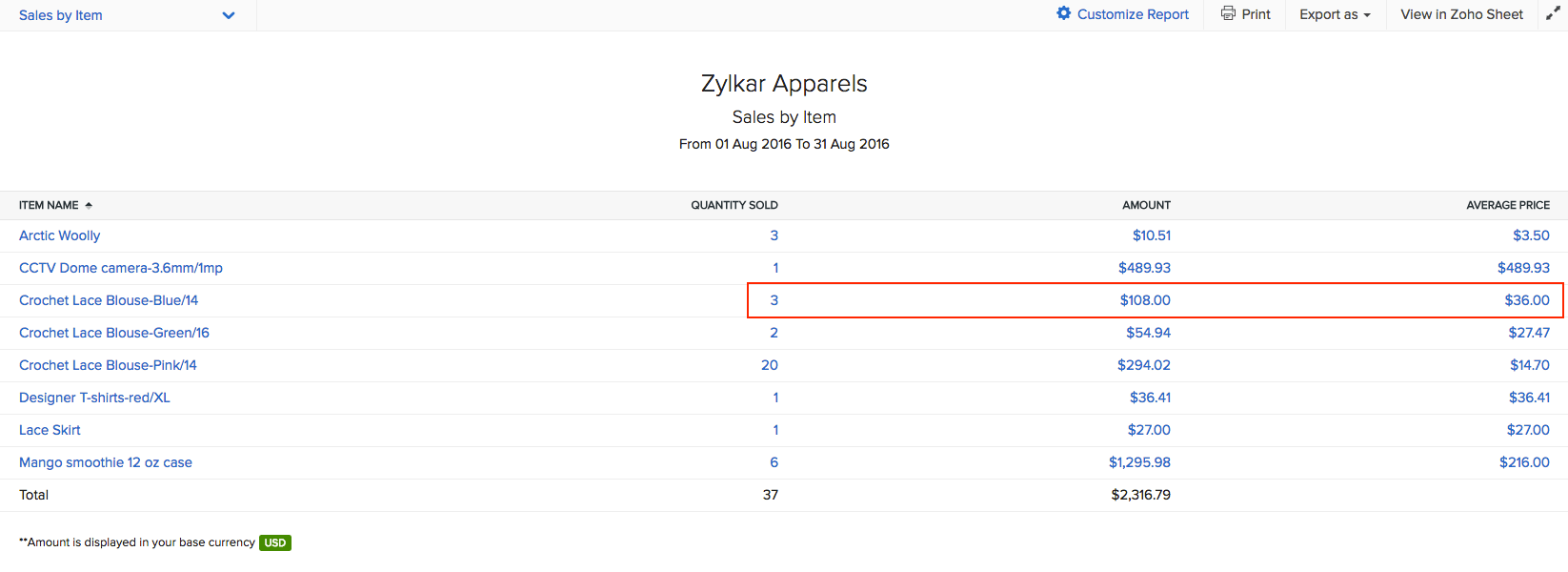 Links inside the sales by item report