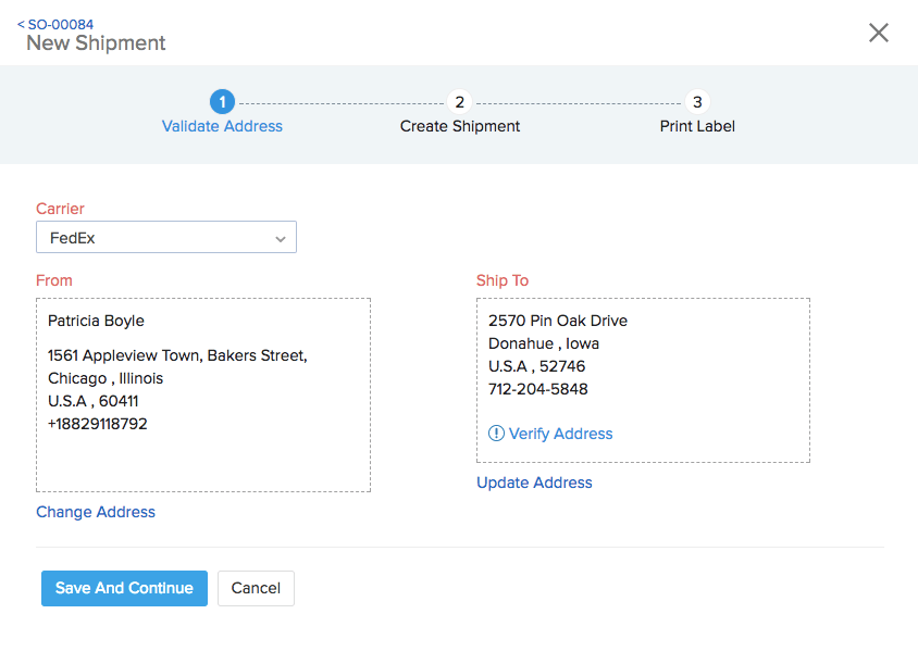 Image of new shipment page using a shipment provider