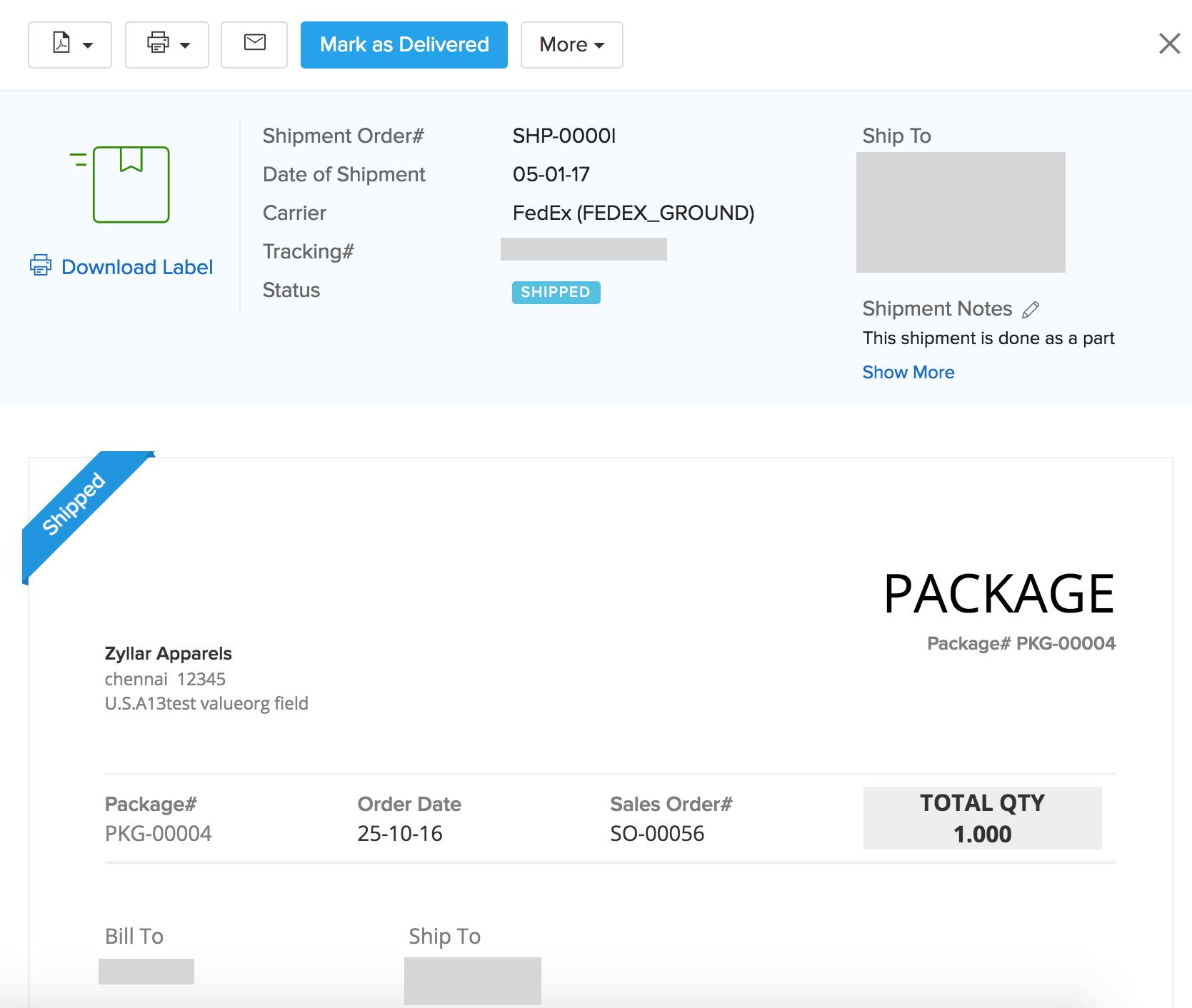 Zoho Inventory - Shipments