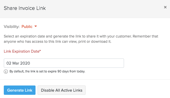 Generate invoice link