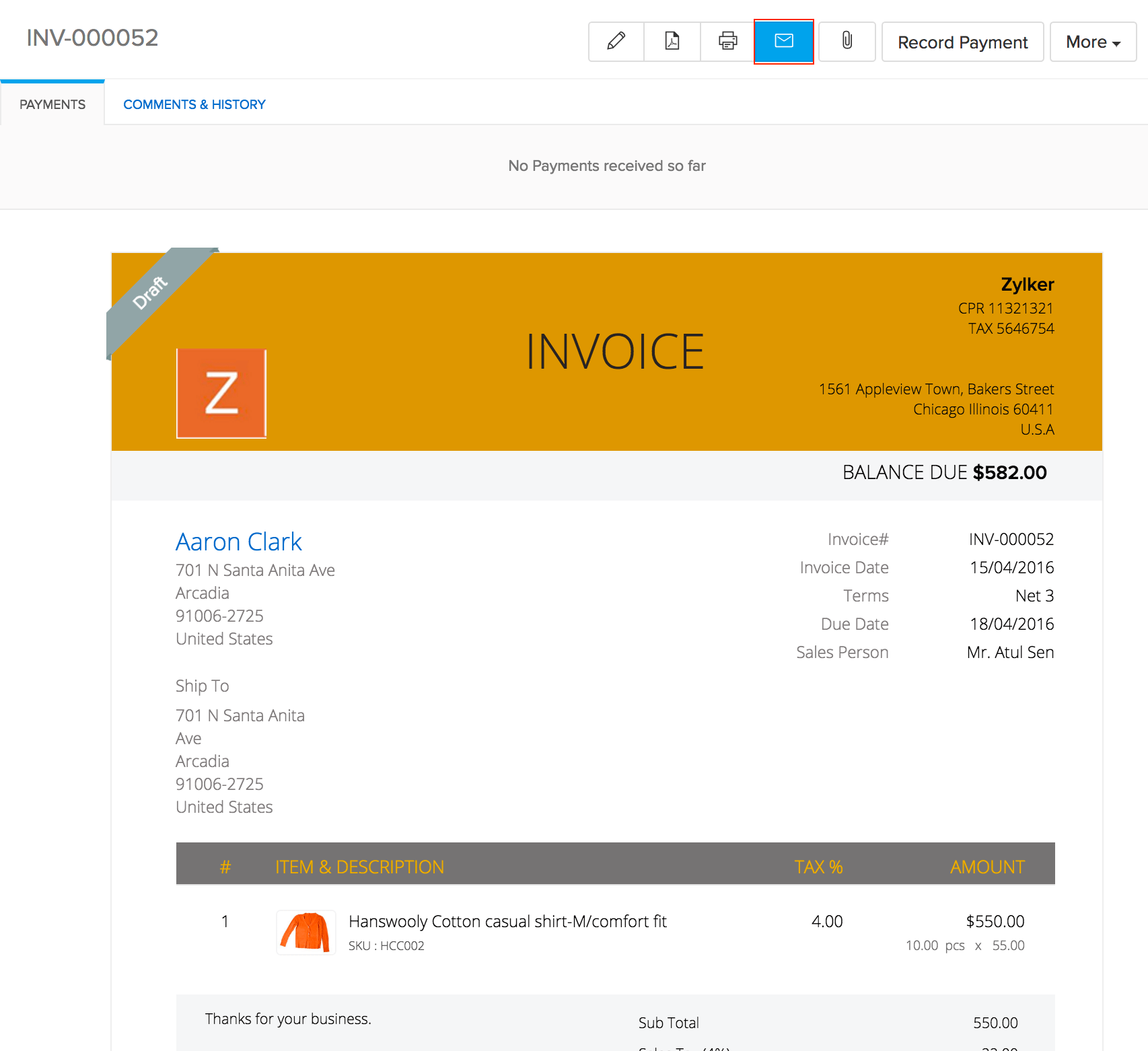 Image of the email button on top of the invoice tab