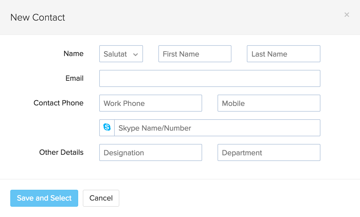 Image of the add new contact pop up