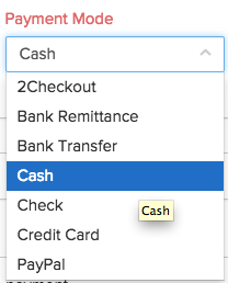 payment mode drop down in the recording payments page