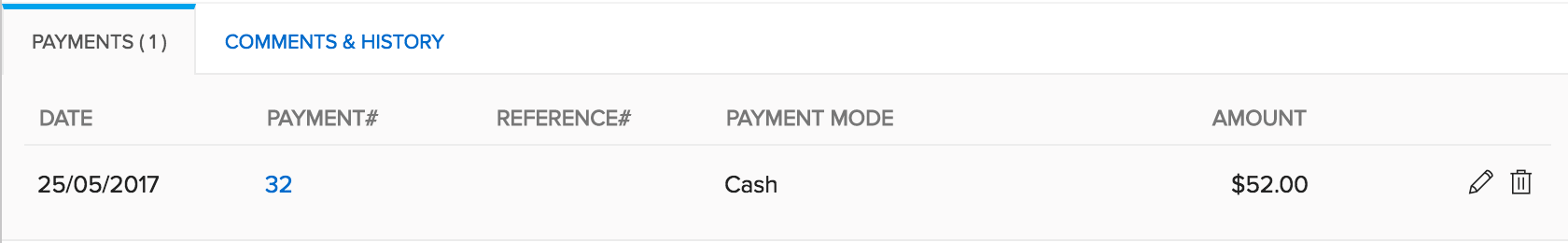 Image of the payments received tab