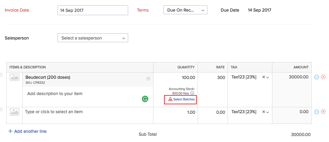 Select batches option in invoice