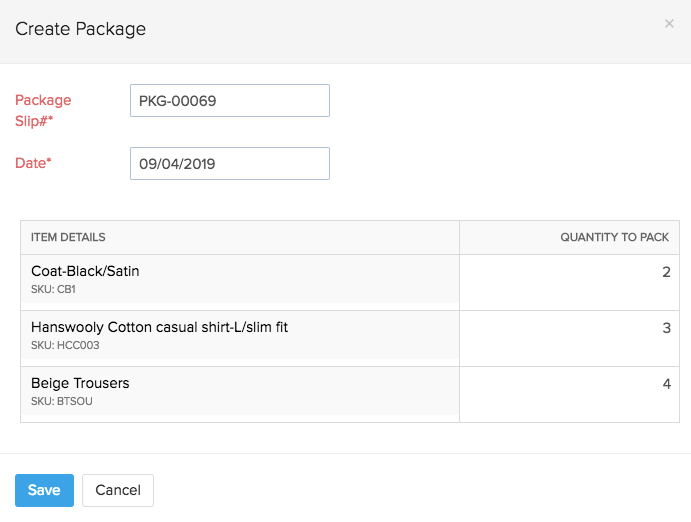 Package Geometry - create package button