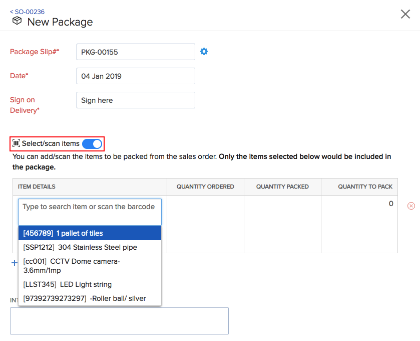 Zoho inventory packages new package page maxwellsz