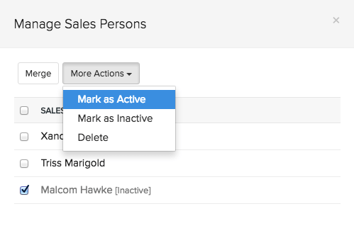 Select sales persons