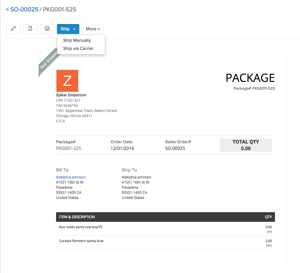 Image of creating shipments from packages