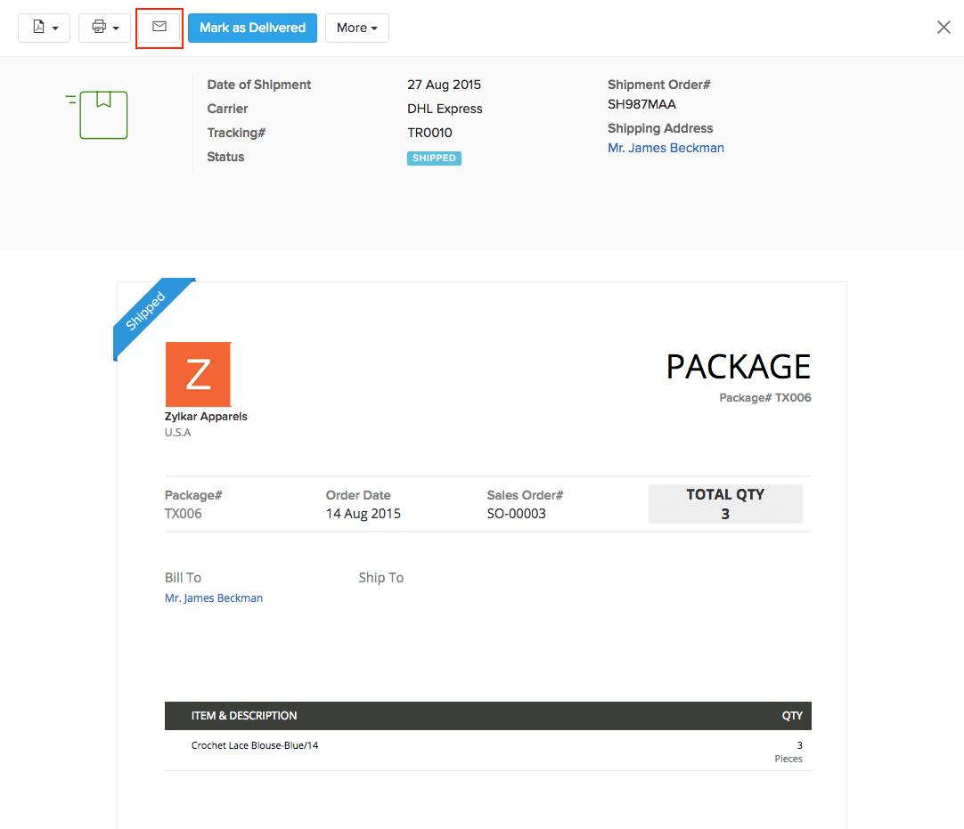 Shipment Notification
