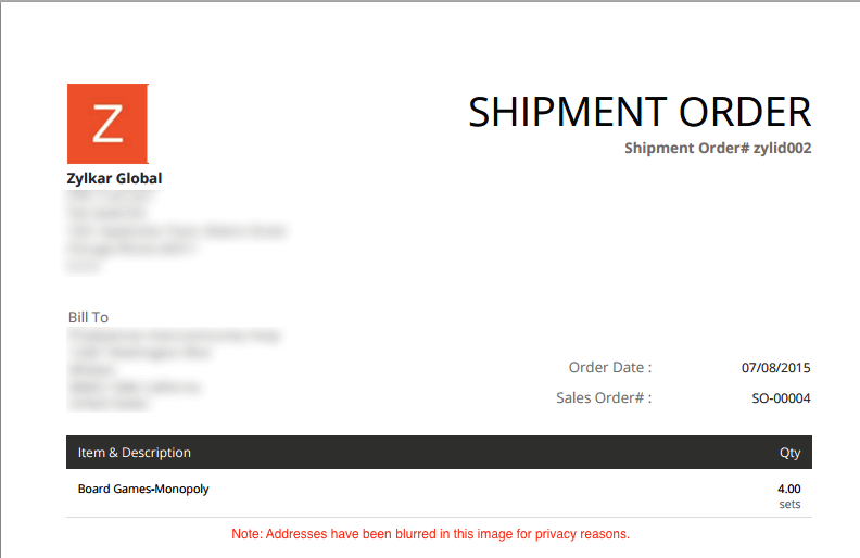 image of shipment order as a PDF