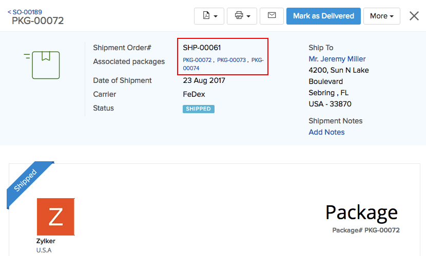 Image of the Package slip with shipped status
