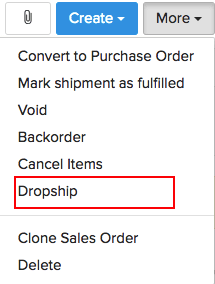 Screen shot of the drop shipment option