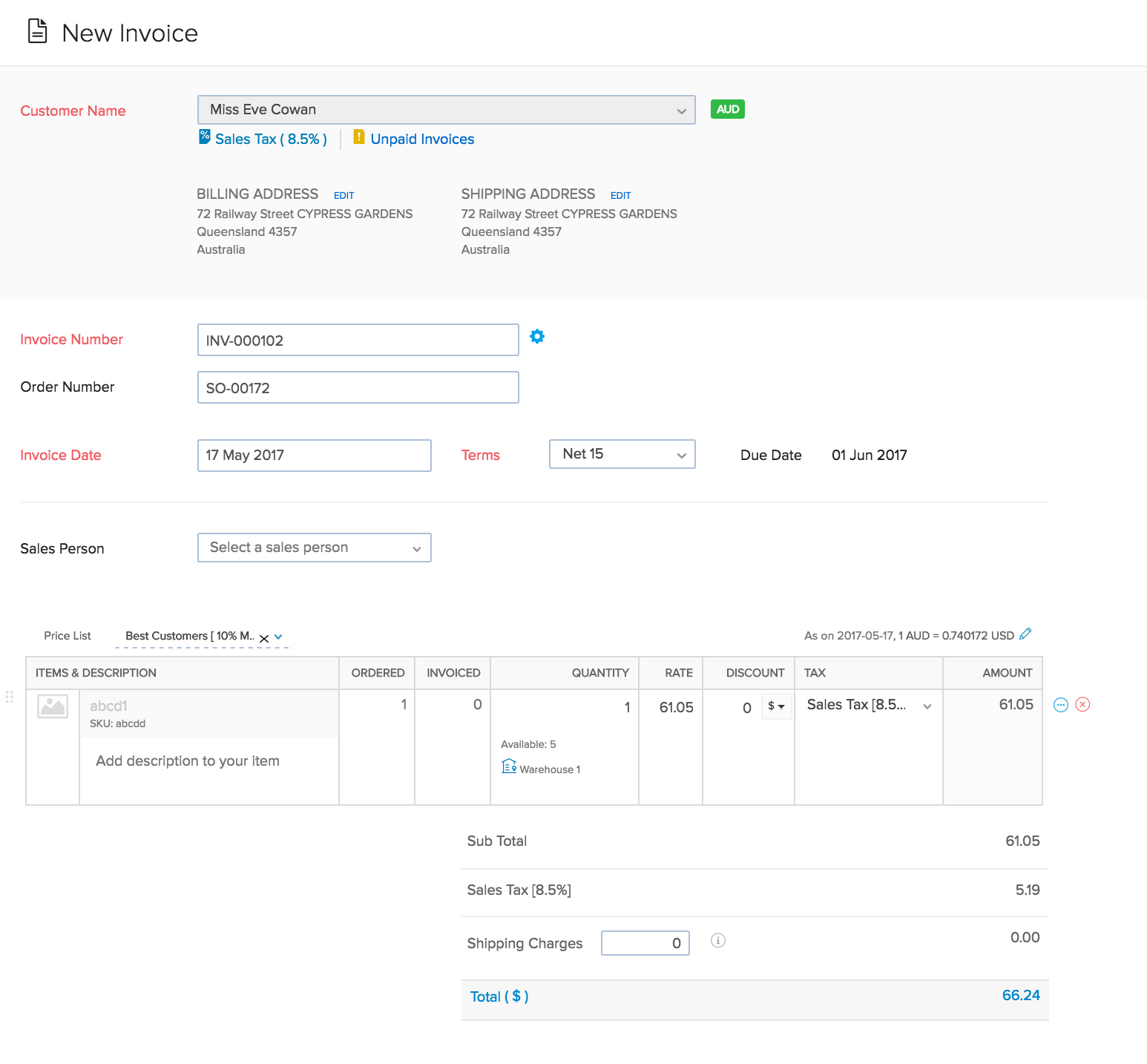 Image of the new invoice page - top half