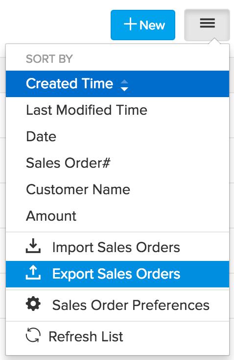 image of the menu drop down highlighting export SO option