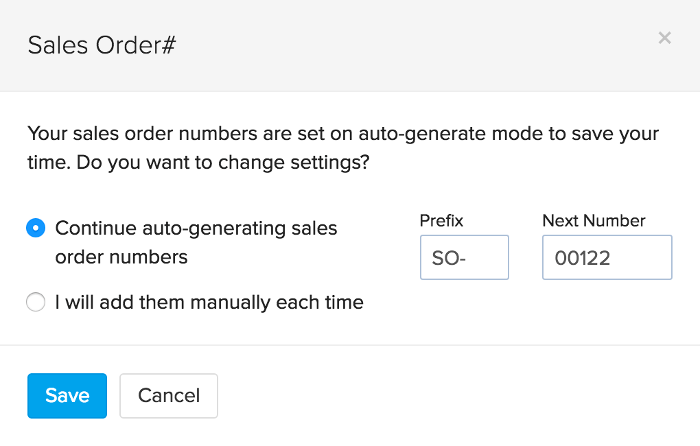 settings pop up of sales order number generation