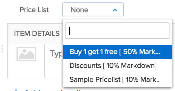 Screen shot of pricelist drop down