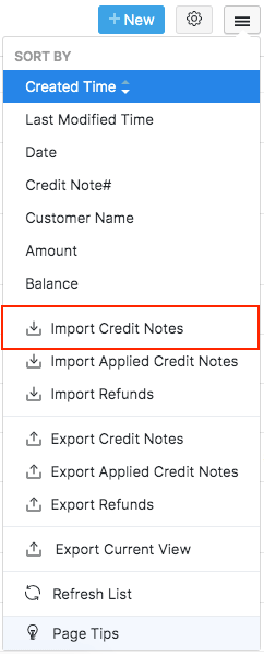 Import credits menu
