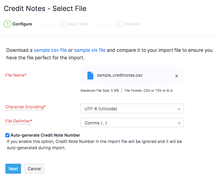 Import credits - upload file