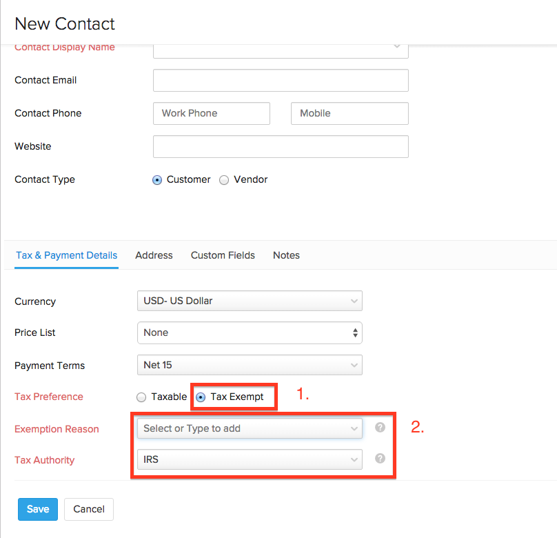 Making a contact nontaxable