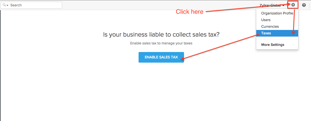 Enable sales tax