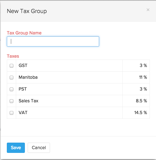 Create a new tax group