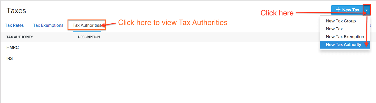 Tax authority page