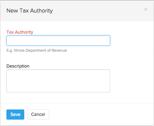 Tax Authority pop-up