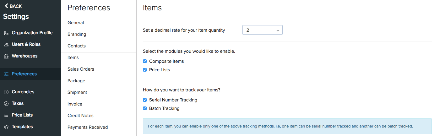 Batch Lot Tracking under Settings