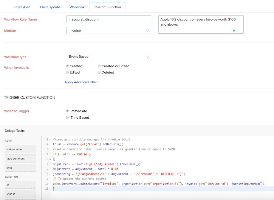 Custom function form