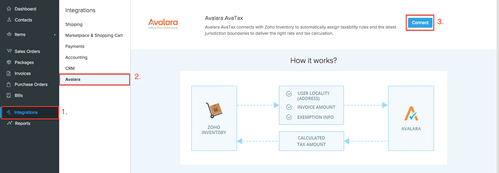 Setup Avalara from Integrations