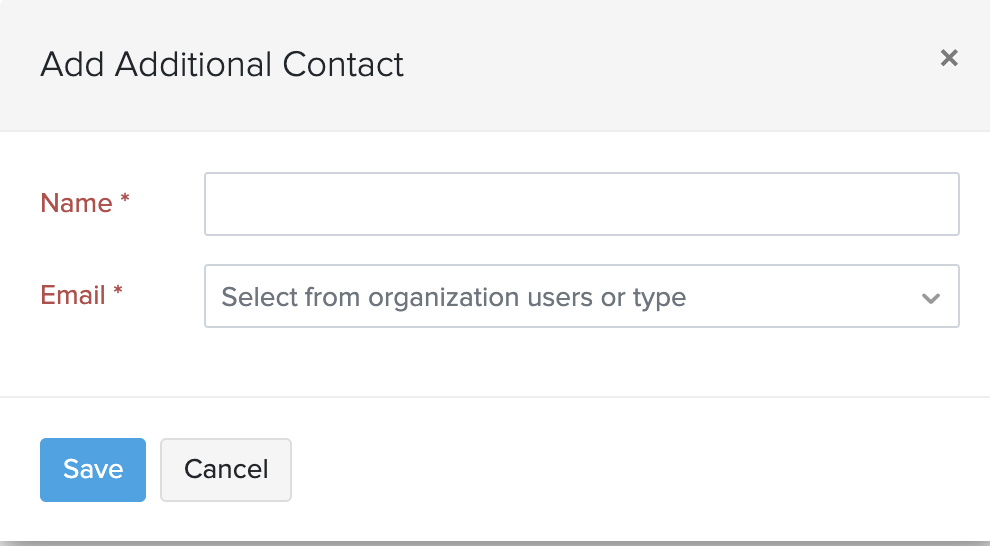 organizational contacts pop up