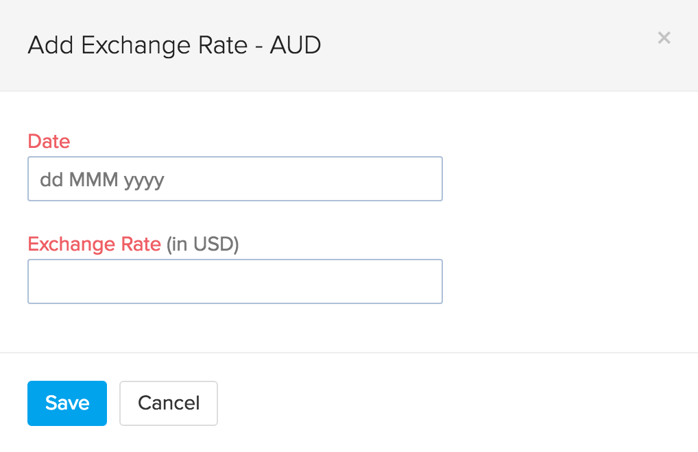 image of adding an exchange rate