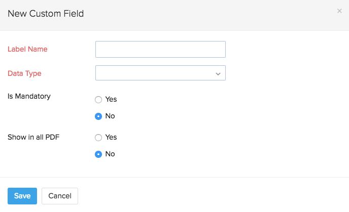 New custom field popup