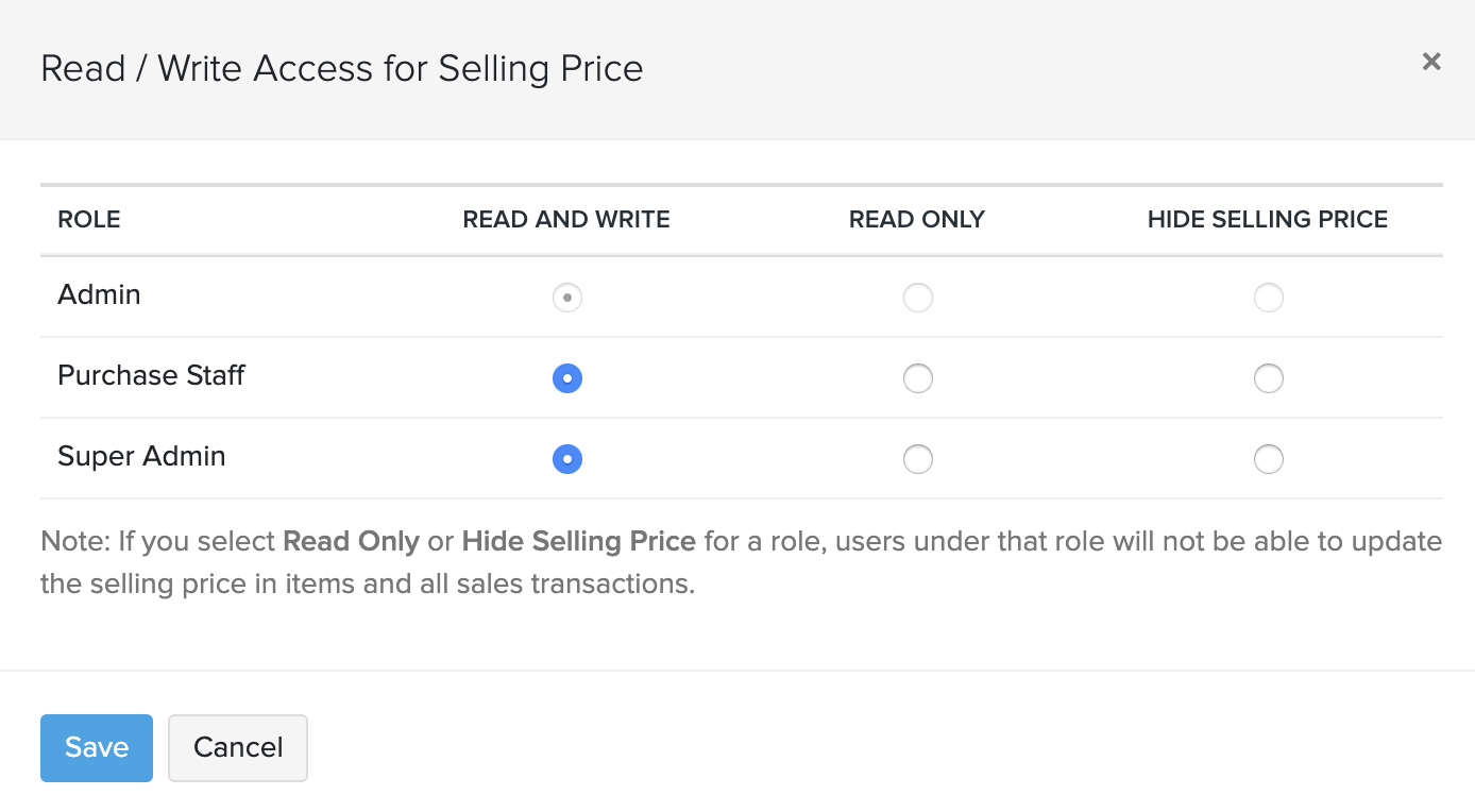 Configuring permission to access sales/purchase price
