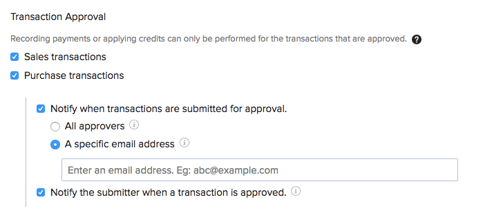 General Preferences - Transaction Approval