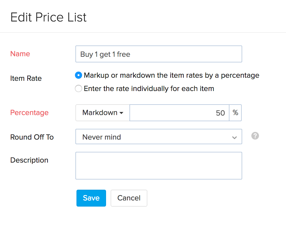 Image of edit price lists page