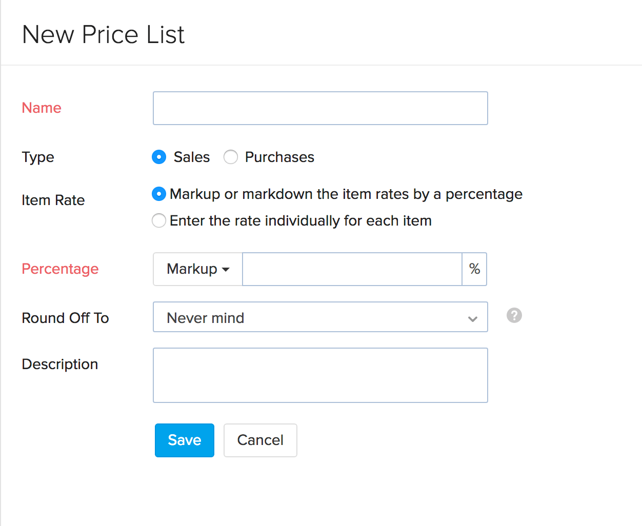 Image of the new price list page - marking up or down by percentage