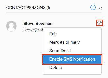 Enable SMS for contact persons