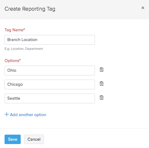 Create Reporting Tag