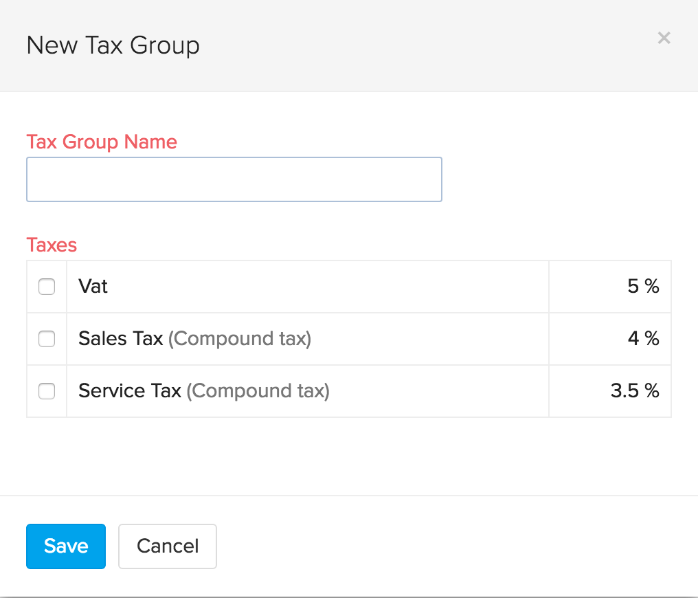 Screenshot for adding a new Tax group