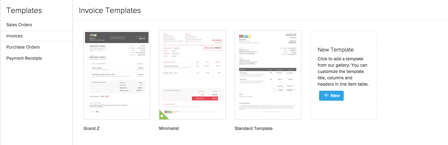 zoho inventory - templates for transactions, Invoice templates