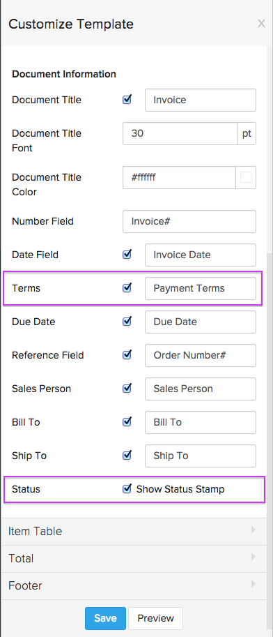 zoho inventory templates for transactions