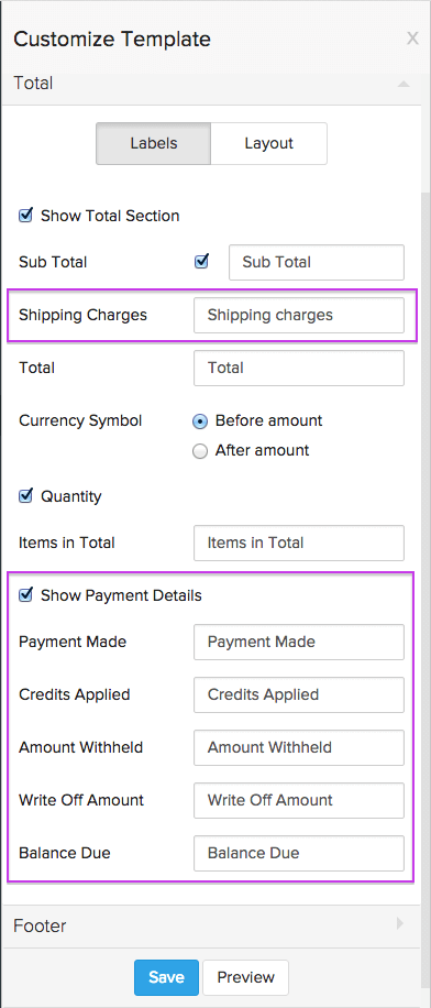 Zoho Inventory Templates For Transactions - Balance due invoice template