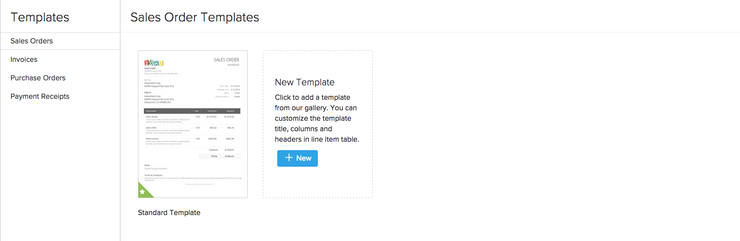 Zoho Inventory - Templates for transactions