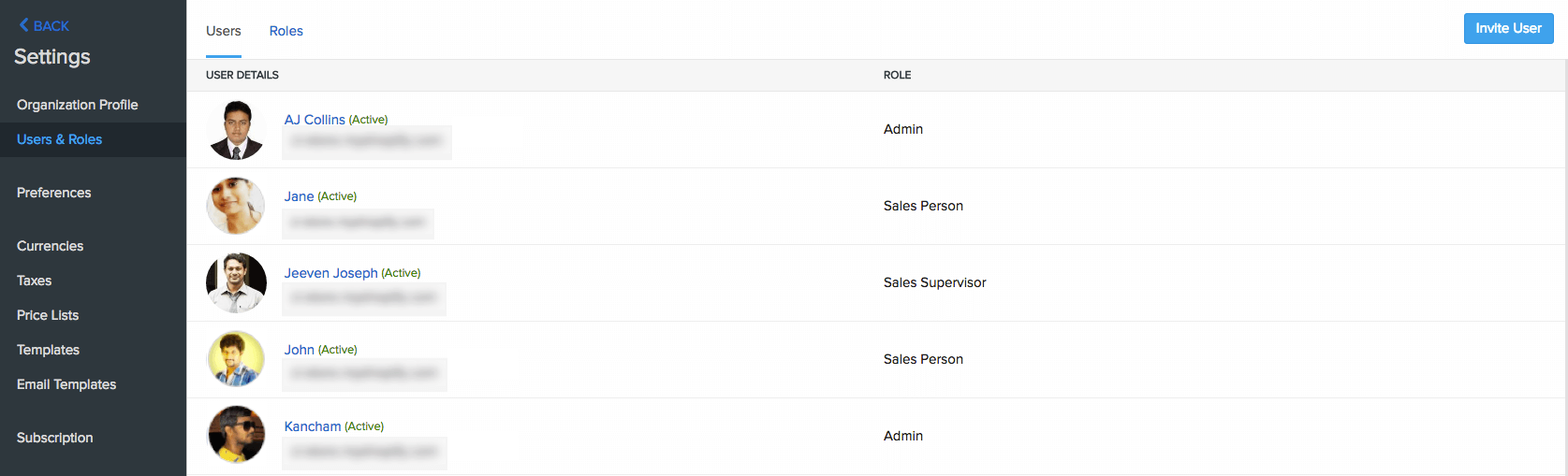 Users & roles page