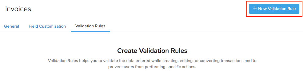 New Validation Rule button