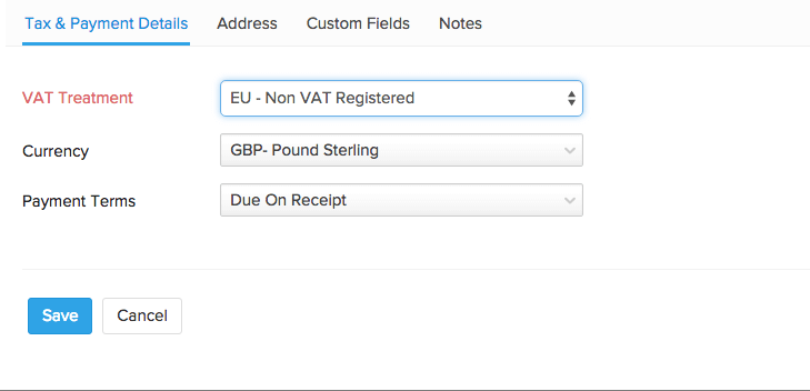 VAT treatment for EU - non VAT registered contacts
