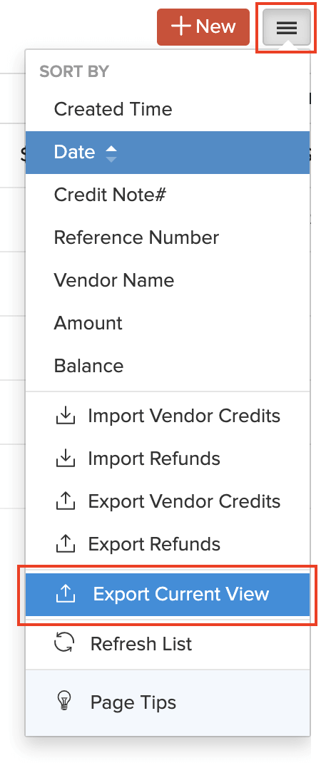 Export view option