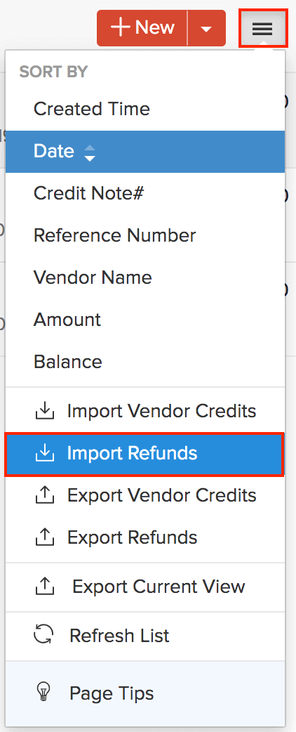 Import Refunds menu option